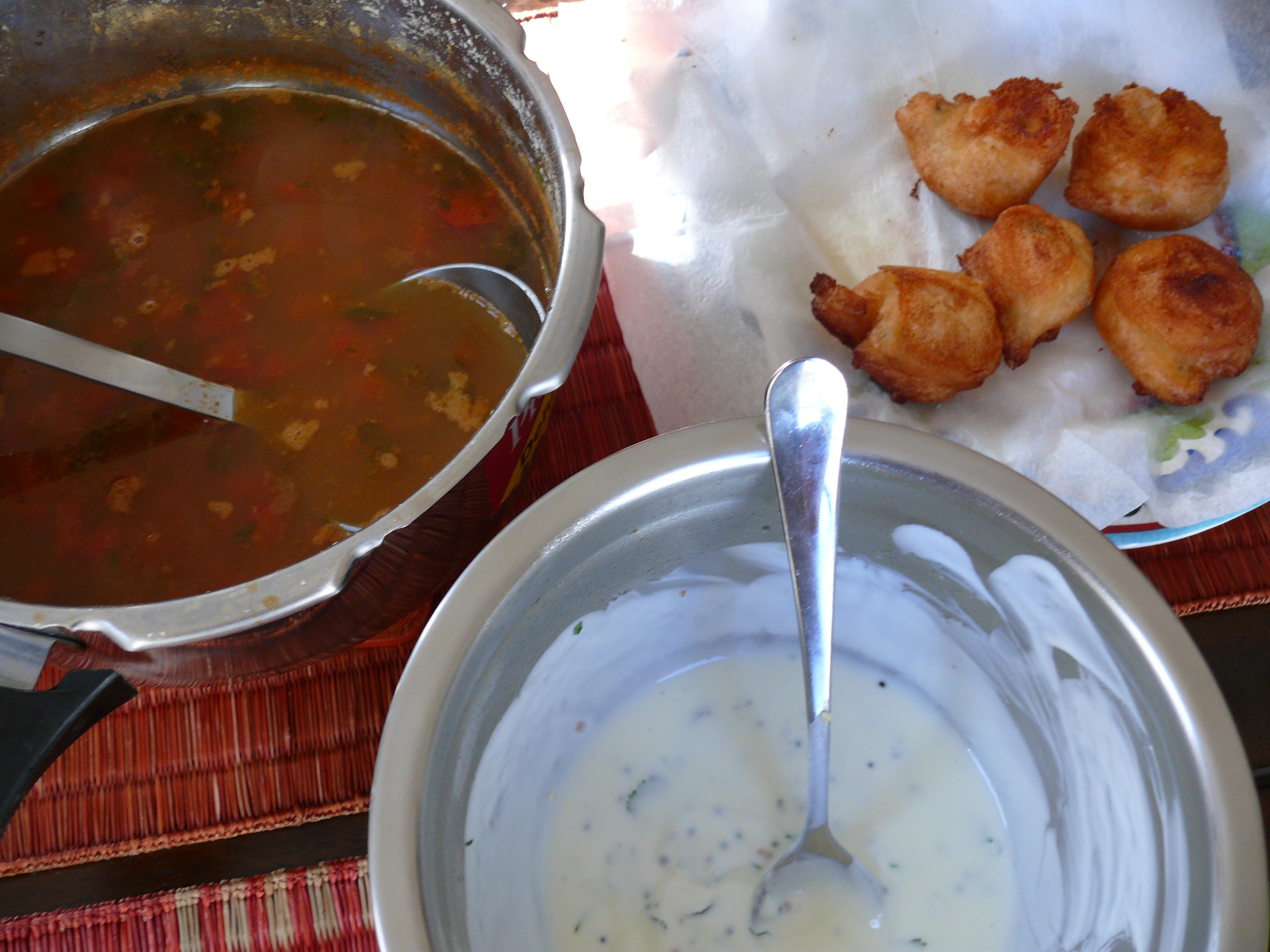 Rasam Vada & Yogurt Chutney