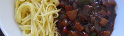 Vegetarian Korean Black Bean Noodles (Jjajangmyun)