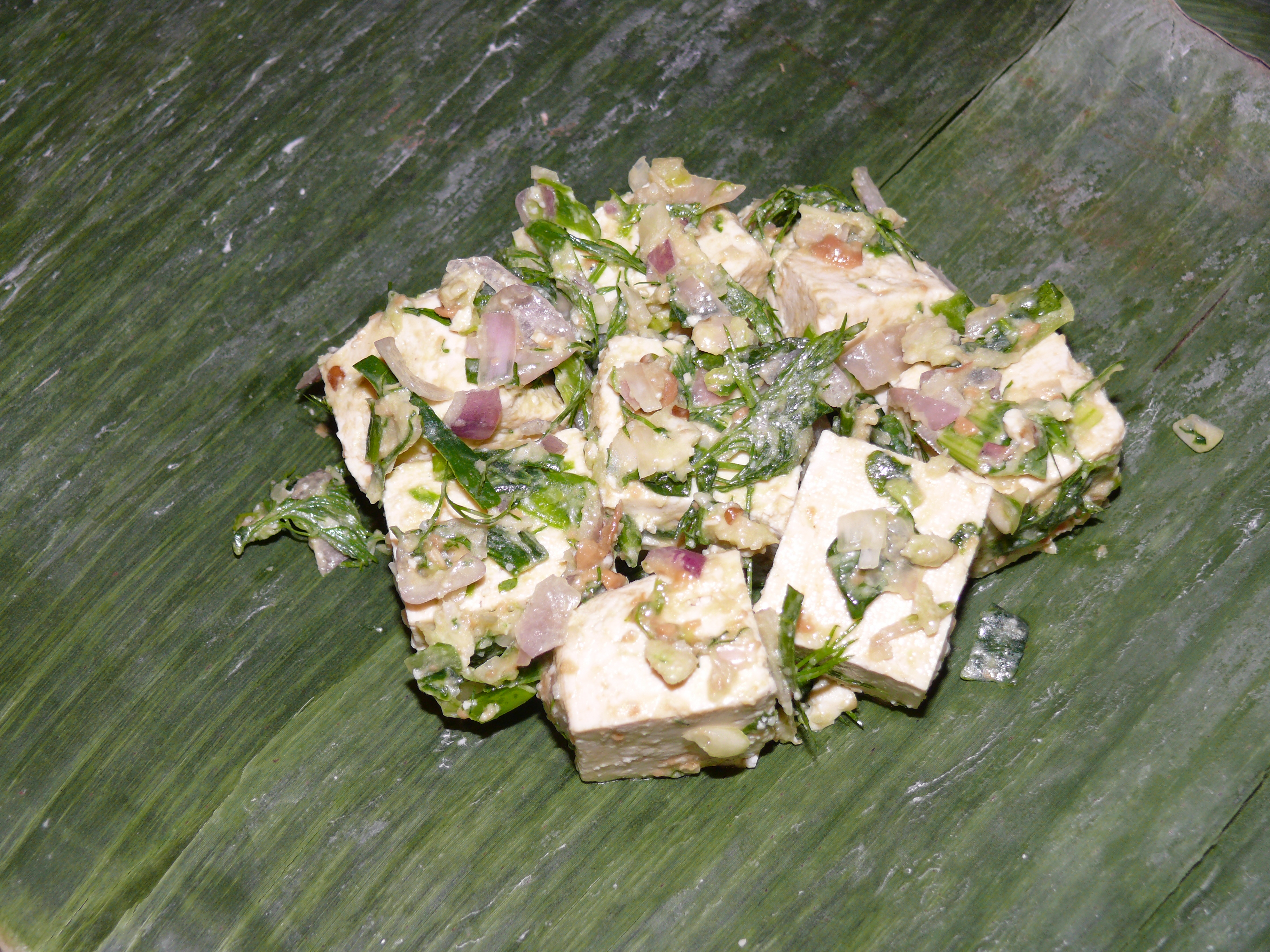 lao tofu in banana leaf 1