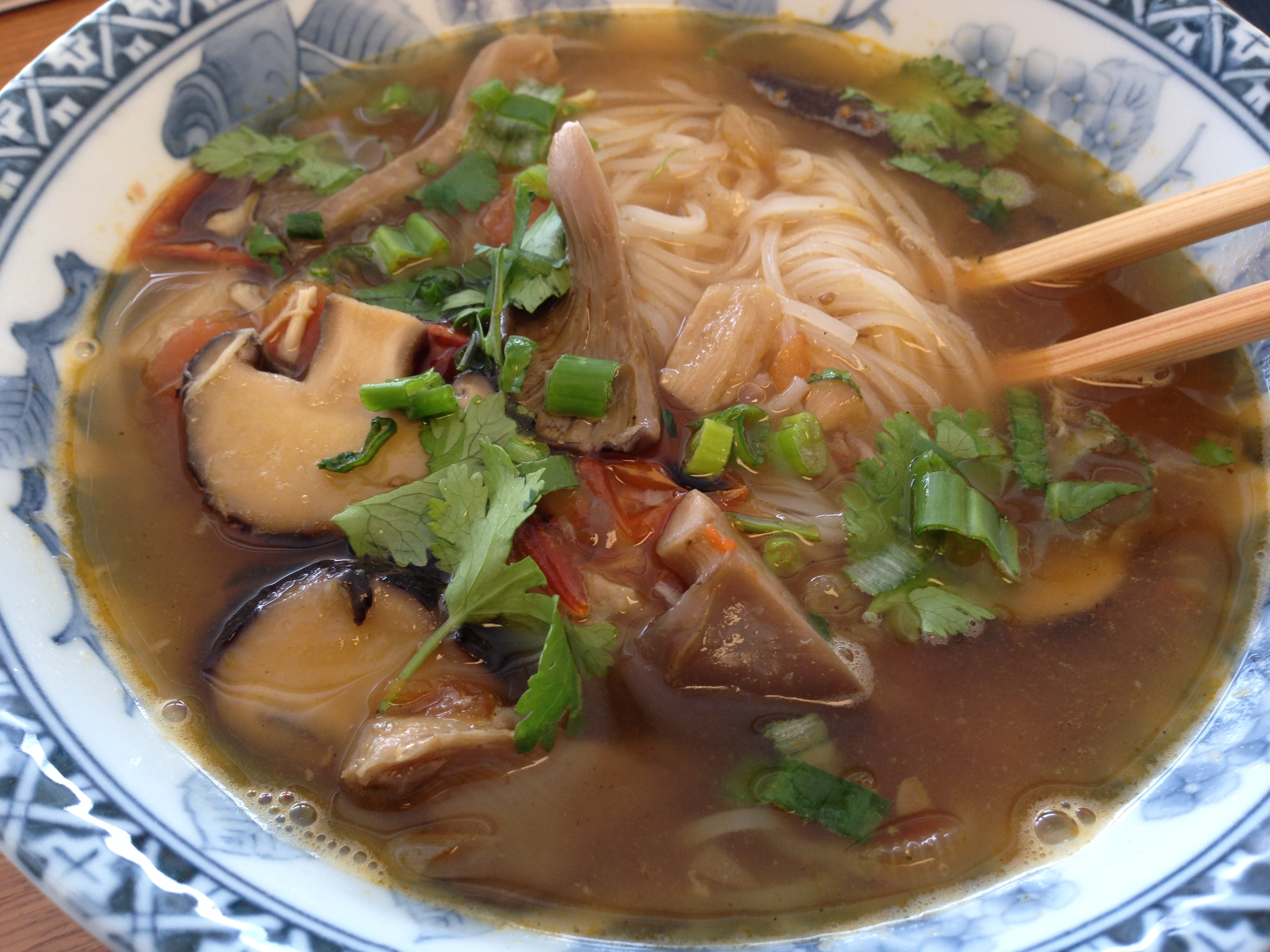 Charred Tomato and Mushroom Rice Noodle Soup