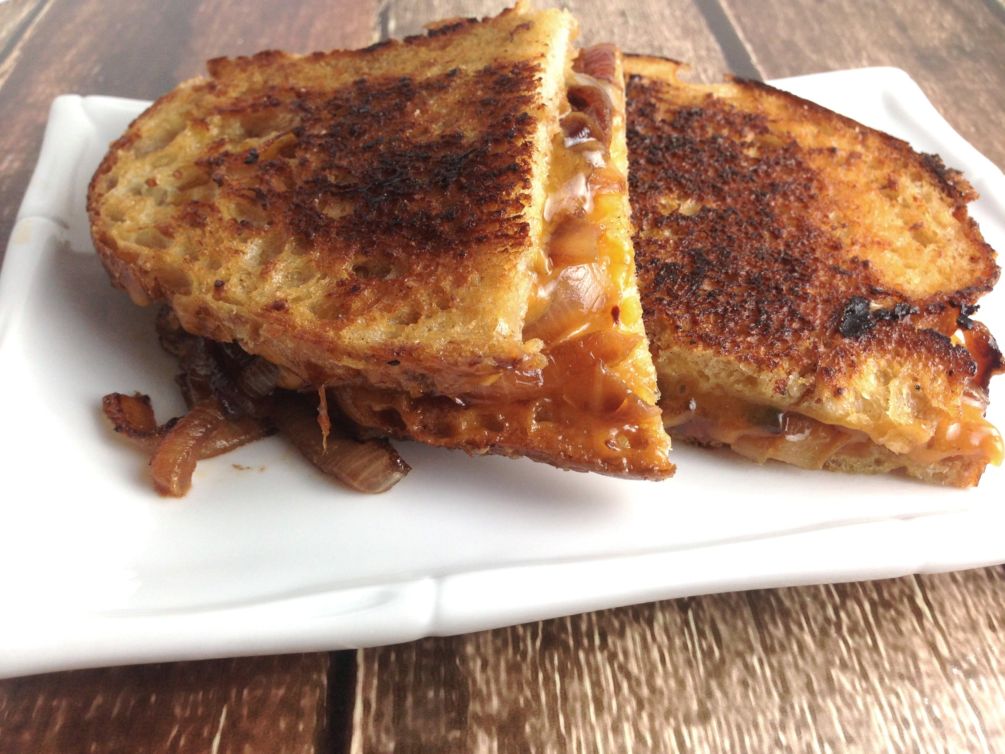 BBQ Carmelized Onion Grilled Cheeses