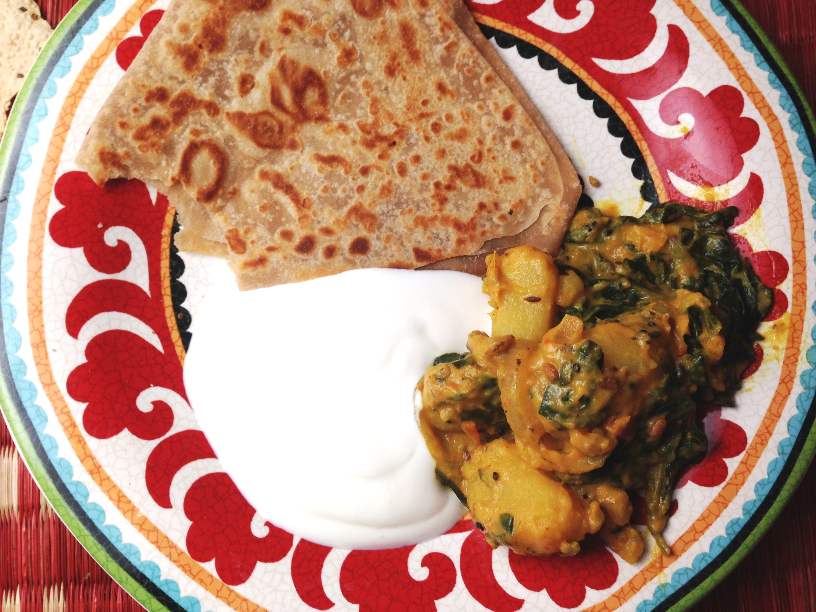 south indian spinach potatoes