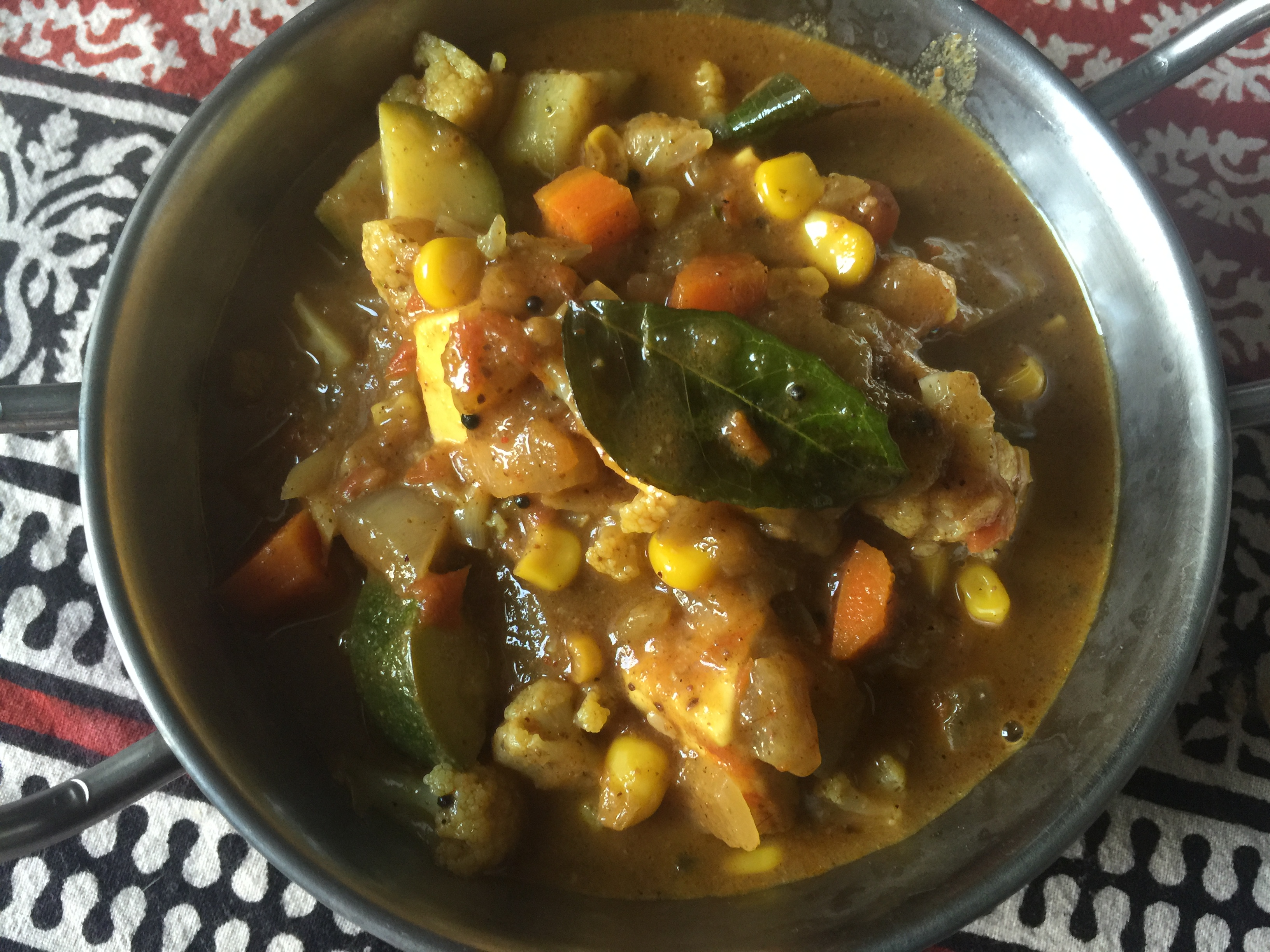 malabar paneer and vegetable curry